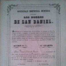 Coleccionismo Acciones Españolas: SOCIEDAD ESPECIAL MINERA LOS POBRES DE SAN DANIEL CARTAGENA 1871 SIERRA ALMAGRERA ALMERIA. Lote 38068642