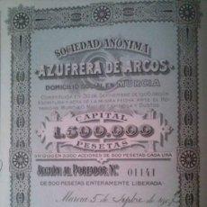 Coleccionismo Acciones Españolas: SOCIEDAD ANONIMA AZUFRERA DE ARCOS CADIZ ANDALUCIA MURCIA 1907. Lote 39021188
