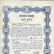 """Coleccionismo Acciones Españolas: ACCIÓN MINERA. ALMERÍA. CUEVAS. SIERRA ALMAGRERA. """"SAN JOSÉ"""", (1874). Lote 38323303"""