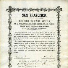 """Coleccionismo Acciones Españolas: ACCIÓN MINERA. MURCIA. MAZARRÓN. DIPUTACION DE LEIVA. """"SAN FRANCISCO"""", (1880). Lote 38323338"""