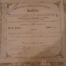 Coleccionismo Acciones Españolas: ACCIÓN DE 1000 PESETAS DEL AÑO 1900 DE LA SOCIEDAD AGRÍCOLA INDUSTRIAL DEL GUADALETE. Lote 38656231