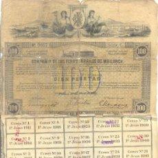 Coleccionismo Acciones Españolas: 1911 COMPAÑIA DE LOS FERROCARRILES DE MALLORCA MUY RARA OBLIGACION 100 PTAS. CON 35 CUPONES . Lote 38448476