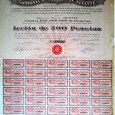 """Coleccionismo Acciones Españolas: 1948.- ACCION DE 500 PTS. DE LA """"COMPAÑIA DE RIEGOS DE LEVANTE, S.A."""" CON SEDE EN ALICANTE.. Lote 130411870"""
