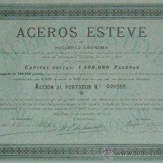 Coleccionismo Acciones Españolas: ACEROS ESTEVE, BADALONA / BARCELONA (1905). Lote 38509330