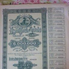 Coleccionismo Acciones Españolas: ACCIÓN DE LA ARGENTÍFERA DE CÓRDOBA AÑO 1916. Lote 38659695