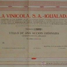 Coleccionismo Acciones Españolas: VINOS: LA VINÍCOLA, S.A., IGUALADA - BARCELONA (1928). Lote 38673992