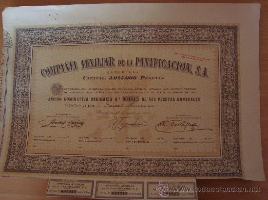 COMPAÑIA AUXILIAR DE LA PANIFICACION 1945 BARCELONA* (Coleccionismo - Acciones Españolas)