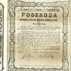 Coleccionismo Acciones Españolas: MAZARRÓN, SOC ESP MINERA PODEROSA MURCIA 1.886. Lote 41130382