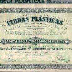 Coleccionismo Acciones Españolas: FIBRAS PLASTICAS, SA. ACCION NUMERO 015180 MADRID 18-09-1957. PERFECTA A FALTA DE TRES CUPONES. Lote 39364387