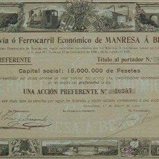Coleccionismo Acciones Españolas: TRANVIA O FERROCARRIL ECONOMICO DE MANRESA A BERGA, BARCELONA (1902). Lote 39135127