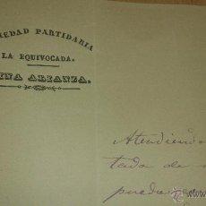 Coleccionismo Acciones Españolas: ANTIGUA CARTA S. XIX SOCIEDAD MINERA LA EQUIVOCADA MINA ALICANZA MINA IBERIA LORCA MURCIA 1875. Lote 39615003