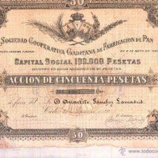 Coleccionismo Acciones Españolas: ACCION DE LA SOCIEDAD COOPERATIVA GADITANA DE FABRICACION DE PAN. 6 MAYO 1897. 50 PESETAS. LEER. Lote 39802041