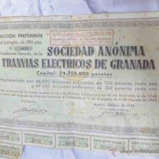 Coleccionismo Acciones Españolas: ACCIÓN PREFERENTE S.S. TRANVIAS ELECTRICOS DE GRANADA 1943. Lote 40085585