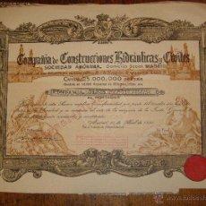 Coleccionismo Acciones Españolas: ANTIGUA ACCIÓN VINTAGE DE COMPAÑIA CONSTRUCCIONES HIDRAULICAS Y CIVILES.. Lote 40256185