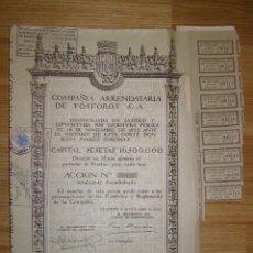 Coleccionismo Acciones Españolas: ACCION COMPAÑIA ARRENDATARIA DE FÓSFOROS, S.A. - AÑO 1922 -. Lote 232432095