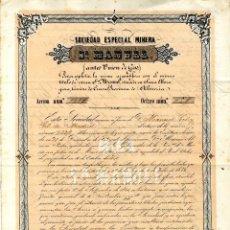 Coleccionismo Acciones Españolas: SIERRA ALMAGRERA, CUEVAS SOC. ESP. MINERA SAN MANUEL 1.863. Lote 40641649