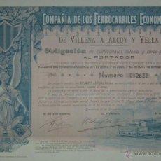 Coleccionismo Acciones Españolas: COMPAÑÍA DE LOS FERROCARRILES ECONÓMICOS DE VILLENA A ALCOY Y YECLA, ALICANTE / MURCIA (1902). Lote 40950715