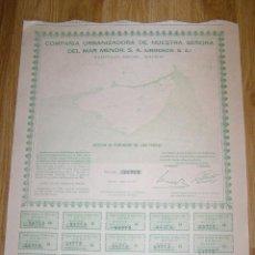 Coleccionismo Acciones Españolas: ACCION COMPAÑIA URBANIZADORA NUESTRA SEÑORA DEL MAR MENOR ( URMENOR, S.A.) 1965. Lote 41017461
