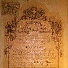 Coleccionismo Acciones Españolas: SOCIEDAD MINERA LA ESTRELLA POLAR CARTAGENA MURCIA 1877. Lote 41082590