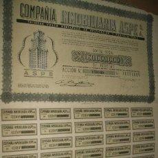 Coleccionismo Acciones Españolas: ACCION COMPAÑIA INMOBILIARIA ASPE SOCIEDAD VASCO MONTAÑESA DE EDIFICACION MADRID 1946 . Lote 41223564