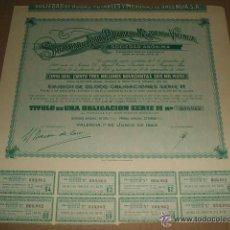 Coleccionismo Acciones Españolas: ACCION SOCIEDAD AGUAS POTABLES Y MEJORAS DE VALENCIA 1965 . Lote 41223648