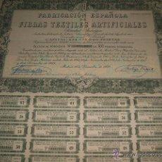 Coleccionismo Acciones Españolas: ACCION FABRICACION ESPAÑOLA DE FIBRAS TEXTILES ARTIFICIALES 1958 . Lote 41223838