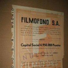 Coleccionismo Acciones Españolas: ACCION FILMOFONO S A MADRID 1943 . Lote 41223861