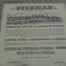 Coleccionismo Acciones Españolas: ACCION PICKMAN S.A. 500 PTA LA CARTUJA DE SEVILLA. Lote 41460082