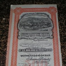 Coleccionismo Acciones Españolas: ACCION AL PORTADOR: LIZARITURRY Y REZOLA. DOMICILIO SOCIAL: SAN SEBASTIÁN. 1937. Lote 98353775