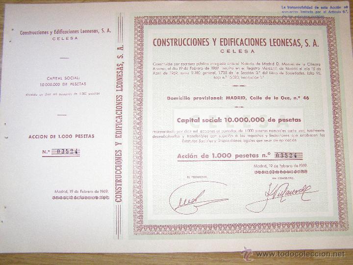 ACCÍON - CONSTRUCCIONES Y EDIFICACIONES LEONESAS, S.A. - 1969 - (Coleccionismo - Acciones Españolas)