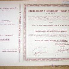 Coleccionismo Acciones Españolas: ACCÍON - CONSTRUCCIONES Y EDIFICACIONES LEONESAS, S.A. - 1969 -. Lote 41875771