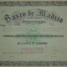 Coleccionismo Acciones Españolas: BANCO DE MADRID (1920). Lote 41754300