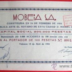 Coleccionismo Acciones Españolas: ACCIÓN. MOBEIA FABRICA PERFUMERIA. REPUBLICA ESPAÑOLA. VALENCIA 1934. .. Lote 41875846