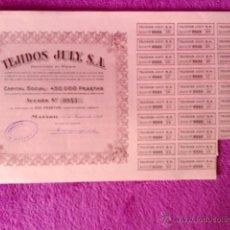 Coleccionismo Acciones Españolas: ACCION TEJIDOS JULY S.A. 1939. Lote 41882549