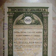 Coleccionismo Acciones Españolas: 5 ACCIONES PREFERENTE DE 1000PTS DE DE DEPORTES DE CATALUÑA S. A.. Lote 41964752