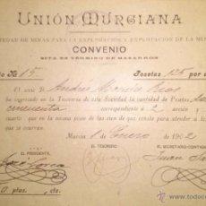 Coleccionismo Acciones Españolas: REPARTO DE LA UNION MURCIANA SOCIEDAD DE MINAS MAZARRON MURCIA 1906. Lote 42034574