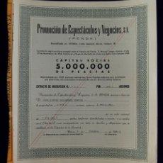 Coleccionismo Acciones Españolas: ACCIÓN DE PROMOCIÓN DE ESPECTACULOS Y NEGOCIOS (PENSA). DOMICILIADA EN VITORIA (ALAVA). AÑO 1966.. Lote 42049875