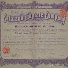 Coleccionismo Acciones Españolas: THE CATALANA TINPLATE COMPANY LIMITED - COMPAÑÍA CATALANA DE HOJALATA, BADALONA - BARCELONA (1913). Lote 42309367