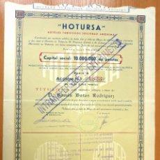 Coleccionismo Acciones Españolas: ACCIÓN NOMINATIVA CONSTITUCIÓN HOTURSA. 1952. Lote 42567855