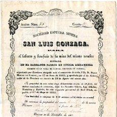 Coleccionismo Acciones Españolas: ACCIÓN MINERA SAN LUIS GONZAGA. SIERRA ALMAGRERA. CUEVAS. ALMERÍA 1865.. Lote 42618284