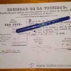 Coleccionismo Acciones Españolas: SOCIEDAD MINERA DE LA TRINIDAD RICOTE OJOS MURCIA 1847. Lote 42719300