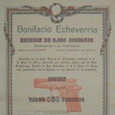 Coleccionismo Acciones Españolas: ARMAMENTO: BONIFACIO ECHEVERRÍA (PISTOLA STAR), EIBAR - GUIPÚZCOA (1919). Lote 42890570