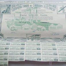 Coleccionismo Acciones Españolas: ACCIÓN DE LA CIA. FABRIL DE CARBONES ELECTRICOS S.A. DE BARCELONA 1944. Lote 42939011