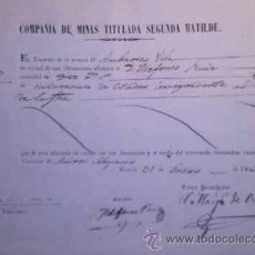 Coleccionismo Acciones Españolas: COMPAÑIA DE MINAS TITULADA SEGUNDA MATILDE CARTAGENA MURCIA 1856. Lote 43029575