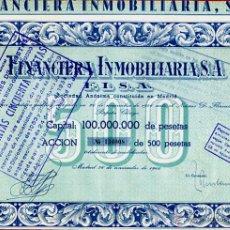 Coleccionismo Acciones Españolas: ACCION FINANCIERA INMOVILIARIA FISA , 1946 , 500 PESETAS , ORIGINAL. Lote 62237902