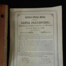 Coleccionismo Acciones Españolas: ACCIÓN SOCIEDAD ESPECIAL MINERA TITULADA SANTA FLORENTINA 1860 CARTAGENA. IMPRENTA J JUAN. Lote 43066502