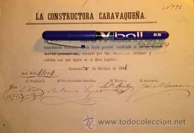 PLAZA DE TOROS DE CARAVACA LA COSTRUCTORA CARAVAQUEÑA MURCIA 1881 (Coleccionismo - Acciones Españolas)