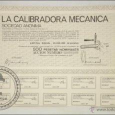Coleccionismo Acciones Españolas: ACCIÓN LA CALIBRADORA MECÁNICA SA - 500 PESETAS - AÑO 1970 - VILANOVA I GELTRÚ, BARCELONA. Lote 43301494