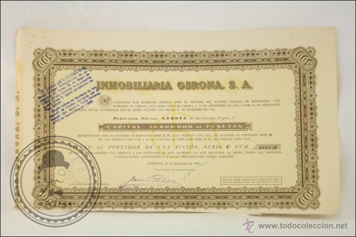 ACCIÓN INMOBILIARIA GERONA SA - 1000 PESETAS - AÑO 1946 - GERONA (Coleccionismo - Acciones Españolas)