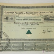 Coleccionismo Acciones Españolas: ACCIÓN COMPAÑÍA AUXILIAR DE NAVEGACIÓN DRAGADOS SA - 50 PESETAS - AÑO 1929 - MADRID. Lote 43304390